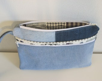 jeans bag, geometric lining, zippered  pouch, modern denim pouch,repurposed denim,recycled jeans, reused denim, e-reader bag, nook,kindle
