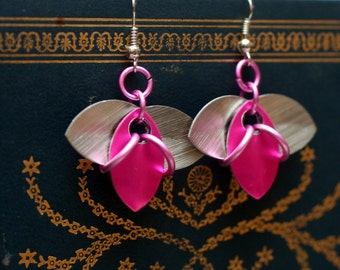 Pink and Silver Tri-Scale Earrings