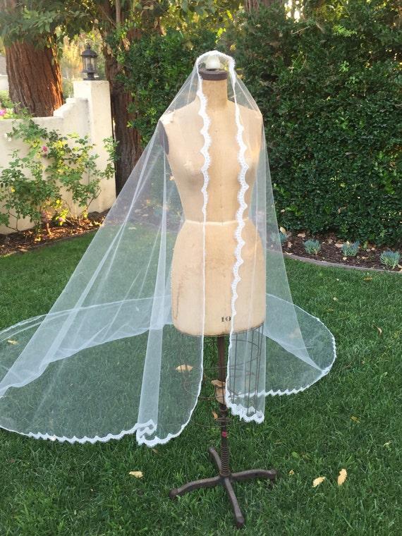 Veil, Lace Wedding Veil,Extra Full Veil, Mantilla, Wedding Veil, Lace Bridal Veil, Soft Tulle Veil , Cathedral Veil- ANYA VEIL