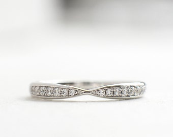 Unique Wedding Band - Half Eternity Band - Sterling Silver Curve Band - Wedding Rings for Women - Engagement - A38