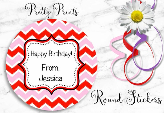 Round Stickers - Chevron Stickers - Red - Pink - Personalized Stickers - Set of 12 Round Labels - Birthday Stickers - Gift Tags