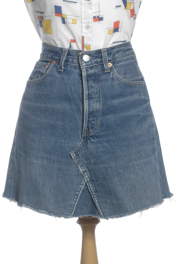 vintage levi s 501 high waisted denim skirt w28 8 by