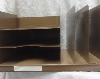Tan Steel Letter Tray and File Combination Unit