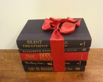 Red and Black Book Bundle Set of FIVE (5) BOOKS for and Instant Library or Prop
