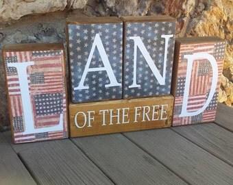 Land Of The Free, 4th of July Decor, Americana Decor, Primitive Wood Block Decor Set
