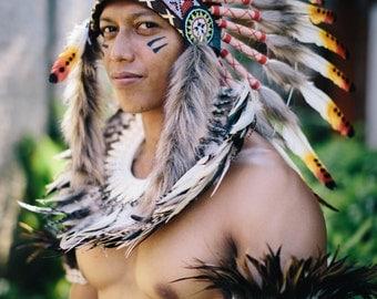 Native American Natural  Indian Tribal Feather Headdress ~ Mardi Gras ~ Costume ~ Chief Headpiece~ Halloween