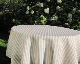 Off White & Taupe Linen Tablecloth; Square Tablecloth / Round Tablecloth; Striped White /Taupe Pure Linen Table Cloth; Dining Table Cover