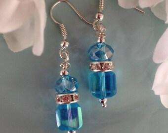 Swarovski Earrings, aqua earrings, blue crystal earrings, beaded earrings, handcrafted jewelry, trendy jewelry, crystal jewelry, handmade