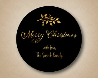 Gold Christmas Gift Labels Script Merry Christmas Custom Tags Holiday Stickers Custom Christmas Stickers Black Round Labels Branch Sticker