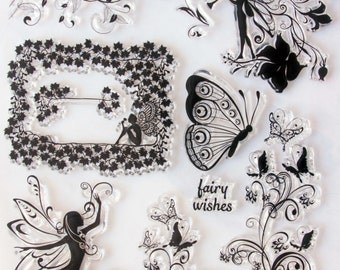 Fairy Faerie and Butterfly Wishes Clear Cling Stamp Set
