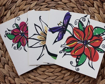 """Variety Flower Cards #A - 4 Pack - A2 (4.25""""x5.5"""") Blank Inside"""