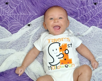 First halloween embroidered baby boys embroidered bodysuit shirt ghost orange green black