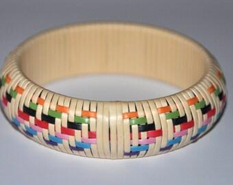 Vintage Wicker Bangle - Woven Bangle Bracelet