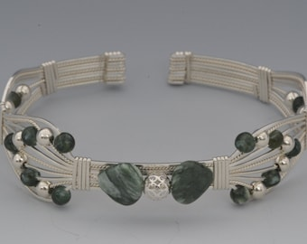 Sterling Silver Bracelet with Seraphinite and Silver Beads