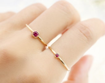 Ruby ring July birthstone ring, Ruby stack ring, Antique vintage inspire tiny dainty ruby ring, 14k 18k yellow rose white gold dal-r101 2/3m