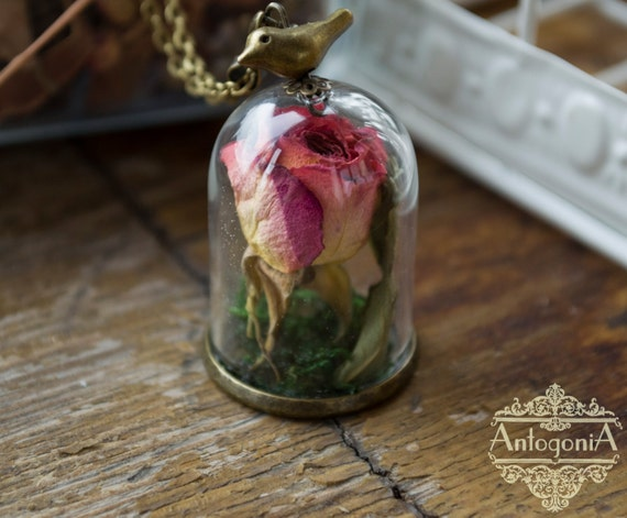 rose terrarium necklace glass dome flowerreal dried by antogonia. Black Bedroom Furniture Sets. Home Design Ideas