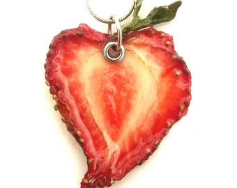 Real Strawberry Slice Necklace