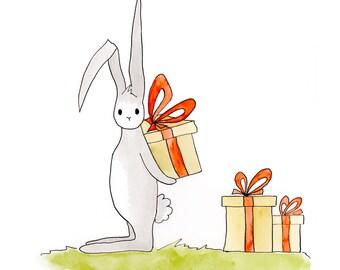 Bunny Print, Nursery Decor, Gift for Kids, Gift for Baby, Nursery Art, Bunny Rabbit Art, Nursery Wall Art, Woodland Nursery, Bunny Art