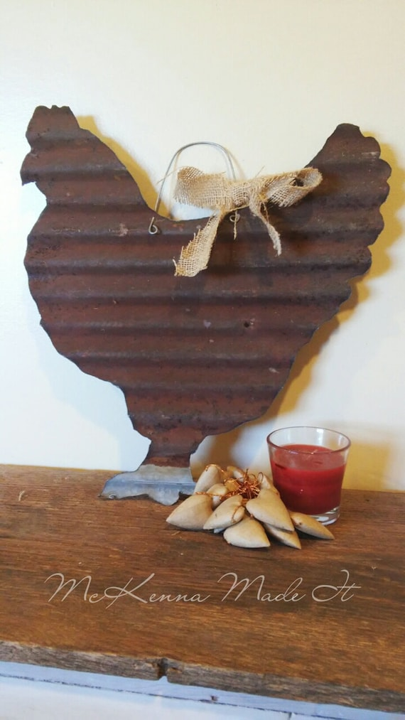 Barn Tin Chicken Cut Out Chicken Sign Wall Hanging Rusty Barn