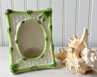 Vintage Ceramic Pocket Frame, Bamboo Design, Pantone Green, Japan, Picture Frame, Chinoiserie, Cottage, Coastal, Tropical, Beach