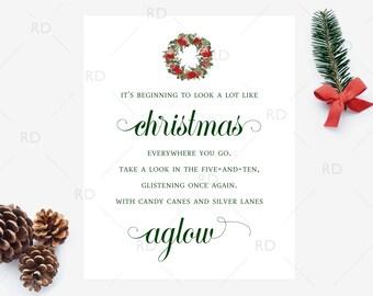 SALE! It's beginning to look a lot like Christmas - PRINTABLE Wall Art / Christmas Lyrics Print / Christmas Song Art / Christmas Wreath Art