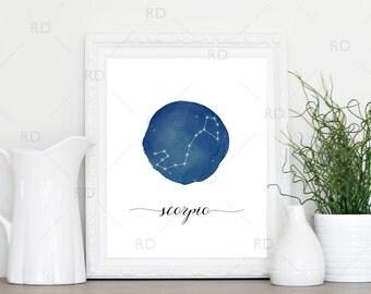 Scorpio Constellation Zodiac - PRINTABLE Wall Art / Zodiac Constellation Wall Art / Zodiac Art by Month / Astrological Art Printable
