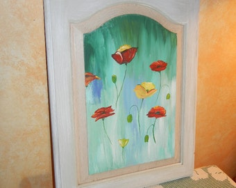 Poppy painting, repurposed cabinet door,poppy decor, poppy art,abstract poppy art,upcycled cabinet door,poppy painting,hand painted poppies