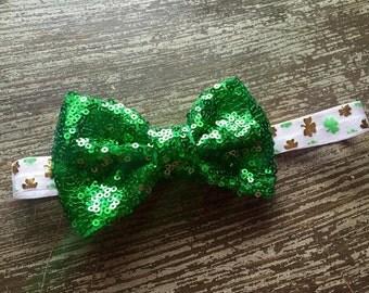 St. Patrick's Day Headband - Shamrock  Hair Clip - Sequin Headband - Green - St. Patty's Hair Clip - St Patricks Day Headband