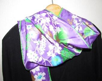 Vintage Purple Silky Scarf