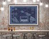 """1893 Hawaii Islands map, Vintage Hawaiian map reprint - 4 sizes up to 54""""x36"""" and 2 color choices"""