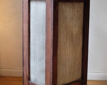 Laundry Hamper, Reclaimed Wood and Burlap Fabric Hamper