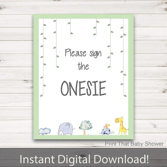 onesie sign zoo friends baby shower jungle baby shower sign sign