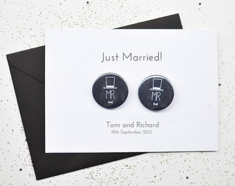 gay wedding card with badges just married mr and mr same sex
