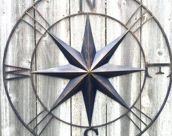 "40"" Compass, Nautical Decor, Navy Blue Compass, Compass Wall Art, Metal Wall Art, Navy Blue Decor, Metal Compass, Metal Wall Decor, Nautical"