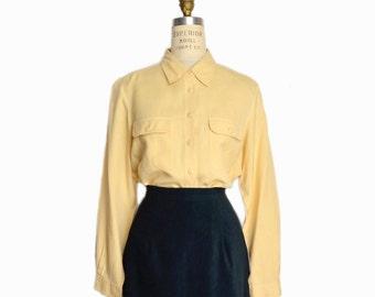Vintage Long Sleeve Silk Blouse in Papaya / Yellow Silk Shirt - women's small