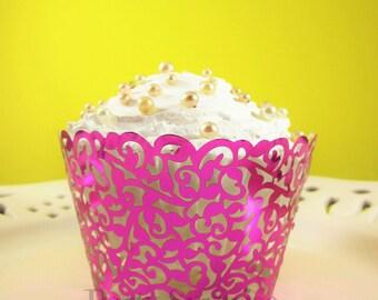 Pink Foil Cupcake Wrappers Hot Pink Metallic Cupcake Wrappers Wedding Sweet Sixteen Baby Shower Girl Birthday Bridal Shower Bat Mitzvah