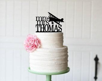 Wedding Cake Topper - Airplane Wedding Cake Topper - Biplane Cake Topper