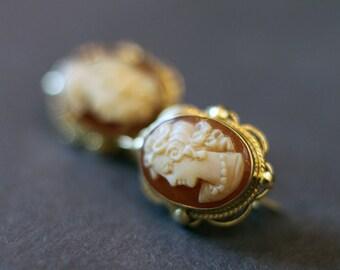 Gold Cameo Earrings  LV-#64