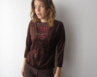 Vintage Brown Velvet Blouse Shoulder Pads Women's Sweater Small Size Velvet Blouse Boho Bohemian Blouse Hippie Festival Sweater
