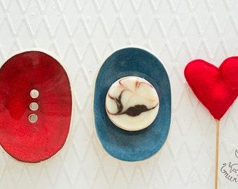 Soap dish drain - Ceramic soap dish - Drain soap dish - Pottery soap dish - Draining dish - Ring dish - Sponge dish - Jewelry dish - Murdeko