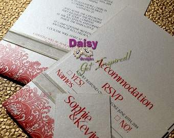 Coral Wedding Invitation suite with Back Pocket  / Destination Tropical Waves / Tropical wedding invitation suite