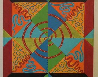 "Snake Charmer Acrylic Geometric Painting - 12"" x 12"""