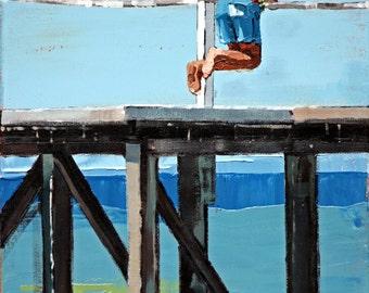 Canvas print, of my, original artwork, impressionist, oil painting, 'On The Jetty', colorful artwork, beach art, beach house decor.