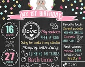 Bunny First Birthday Chalkboard Poster Sign Bunny theme 1st Birthday Chalkboard Easter bunny Milestones Printable Baby's 1st Year Printable