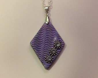 Diamond shaped polymer clay pendant with rhinestones
