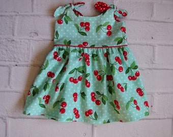 Retro Baby Dress, Any Size Girls Dress, Aqua Cherries Infant Dress, Baby Easter Dress, Rockabilly Baby Dress, Turquoise Red Baby Dress