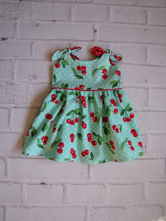 Kids 1950s Clothing & Costumes: Girls, Boys, Toddlers Retro Baby Dress Any Size Girls Dress Aqua Cherries Infant Dress Baby Easter Dress Rockabilly Baby Dress Turquoise Red Baby Dress  AT vintagedancer.com