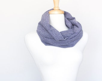 Upcycled Chunky Infinity Circle Scarf (colours: grey/blue)