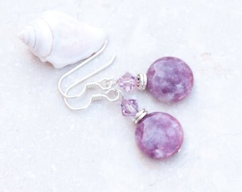 Lepidolite Earrings, Purple Earrings, Purple Natural Stone Earrings, Swarovski Crystals, Lilac Earrings, Libra Birthstone, Sterling Silver
