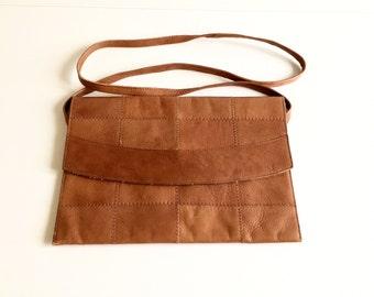 Vintage 60s/70s leather handbag shoulder bag Square patchwork visible seams Rectangular Long strap 1969s/1970s